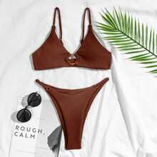 Texturierter Bikini Badeanzug mit Ring Bindung und Tanga