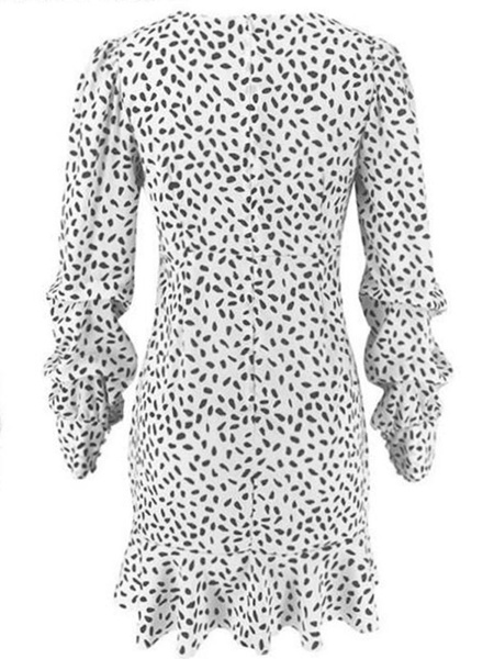 Milanoo Minivestidos Vestido corto de manga larga a lunares blancos