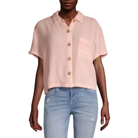 Vanilla Star Womens Short Sleeve Camp Shirt-Juniors, Large , Pink
