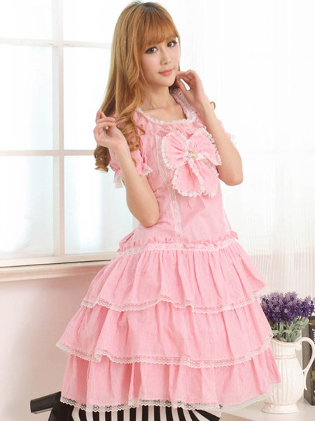 Milanoo Pink Short Sleeves Jewel Neck Bow Lolita One-Piece