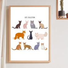 Cat Print Wall Painting Without Frame