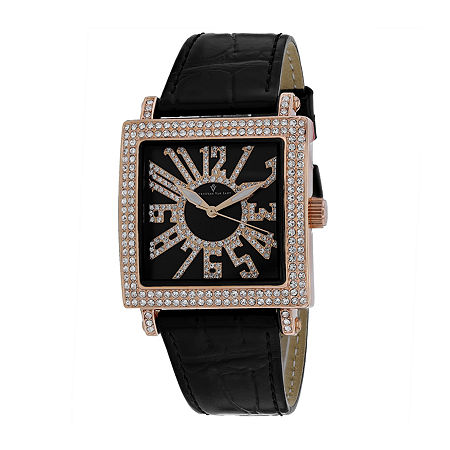 Christian Van Sant Womens Black Leather Strap Watch-Cv0245, One Size , No Color Family