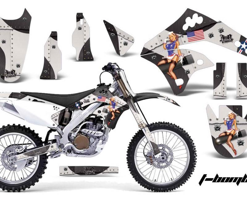 AMR Racing Dirt Bike Graphics Kit MX Decal Wrap For Kawasaki KX250F 2006-2008áTBOMBER BLACK
