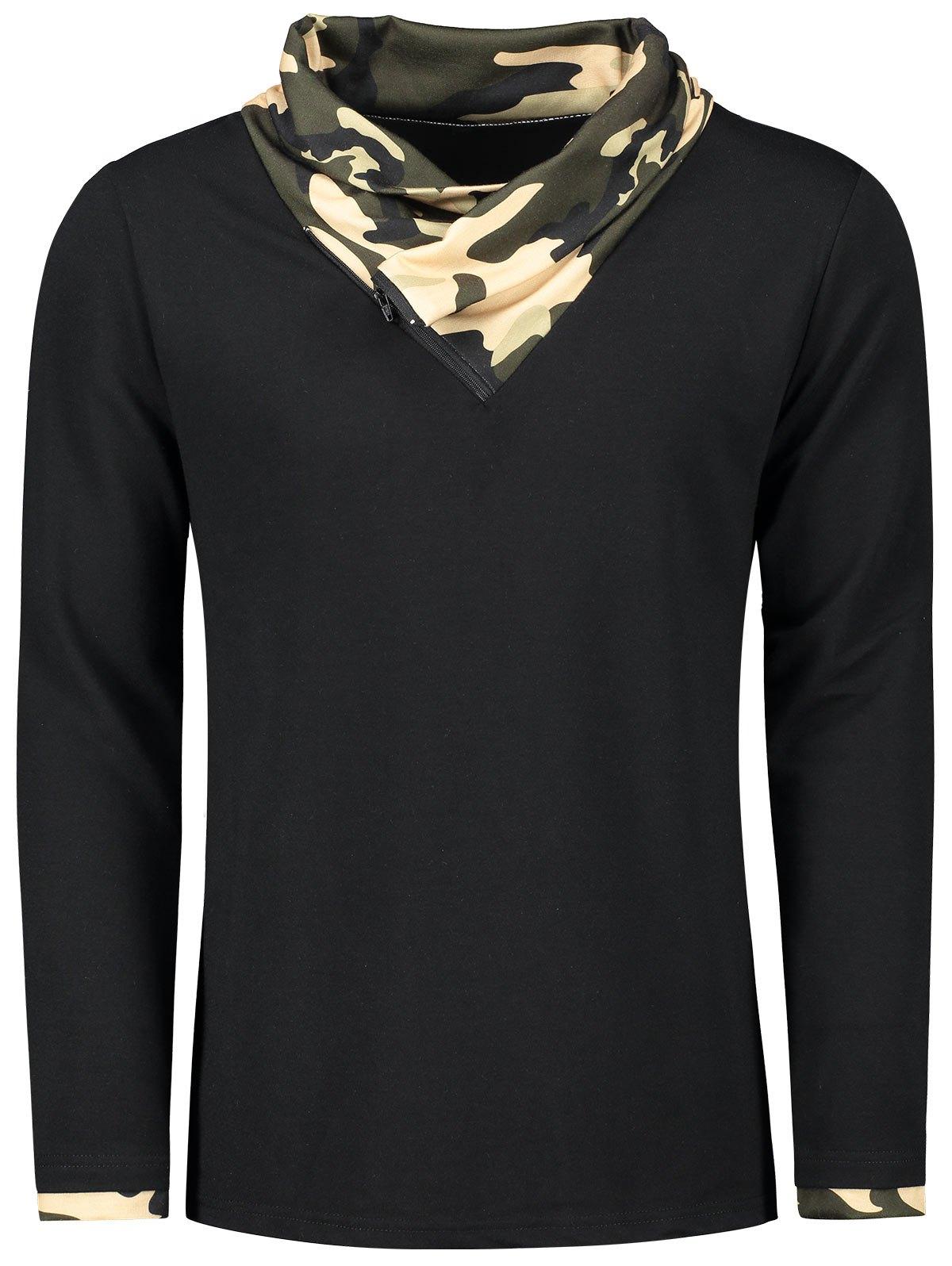 Camouflage Heaps Collar Long Sleeve T-shirt