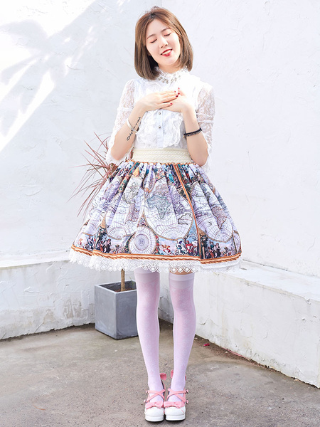 Milanoo Light Gray Sweet Lolita SK Lace Polyester Lolita Skirts