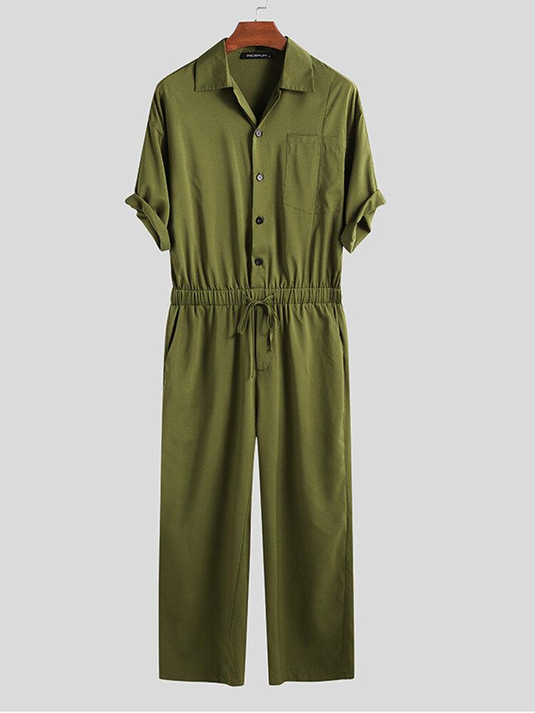 Mens Solid Color Chest Pocket Long Pant Short Sleeve Jumpsuit