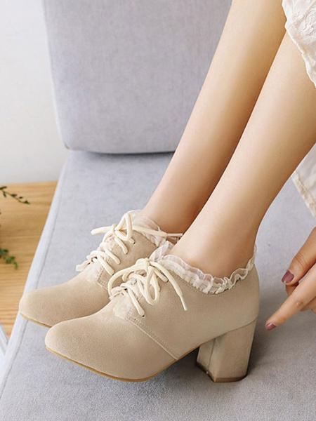 Milanoo Classic Lolita Footwear Ruffles Suede Chunky Heel Lolita Shoes