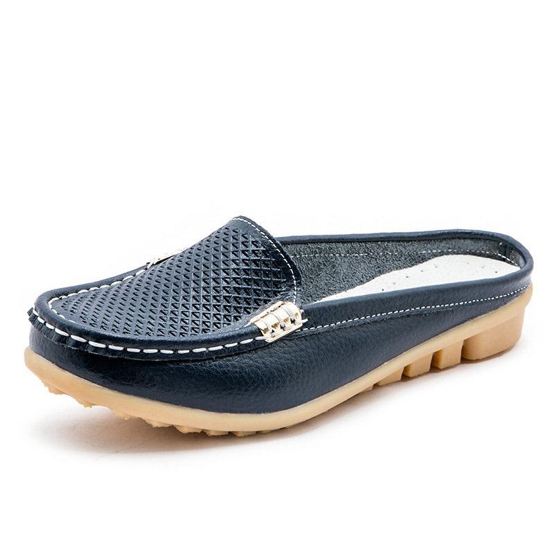 Ericdress Block Heel Closed Toe Hollow Plain Slippers