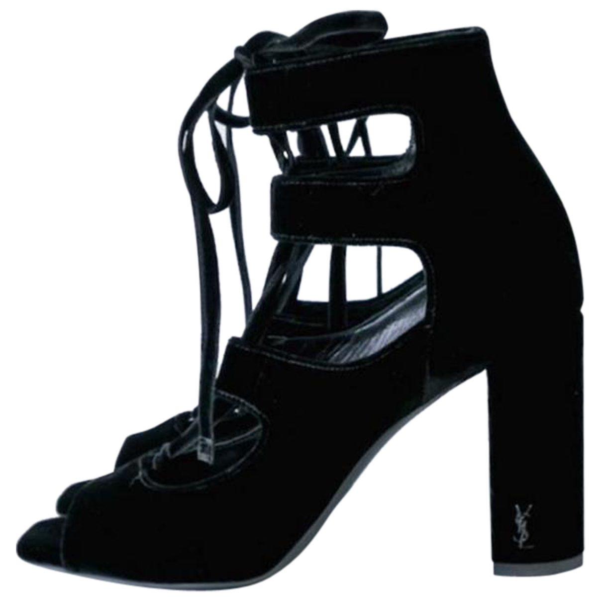 Saint Laurent N Black Velvet Sandals for Women 36 EU
