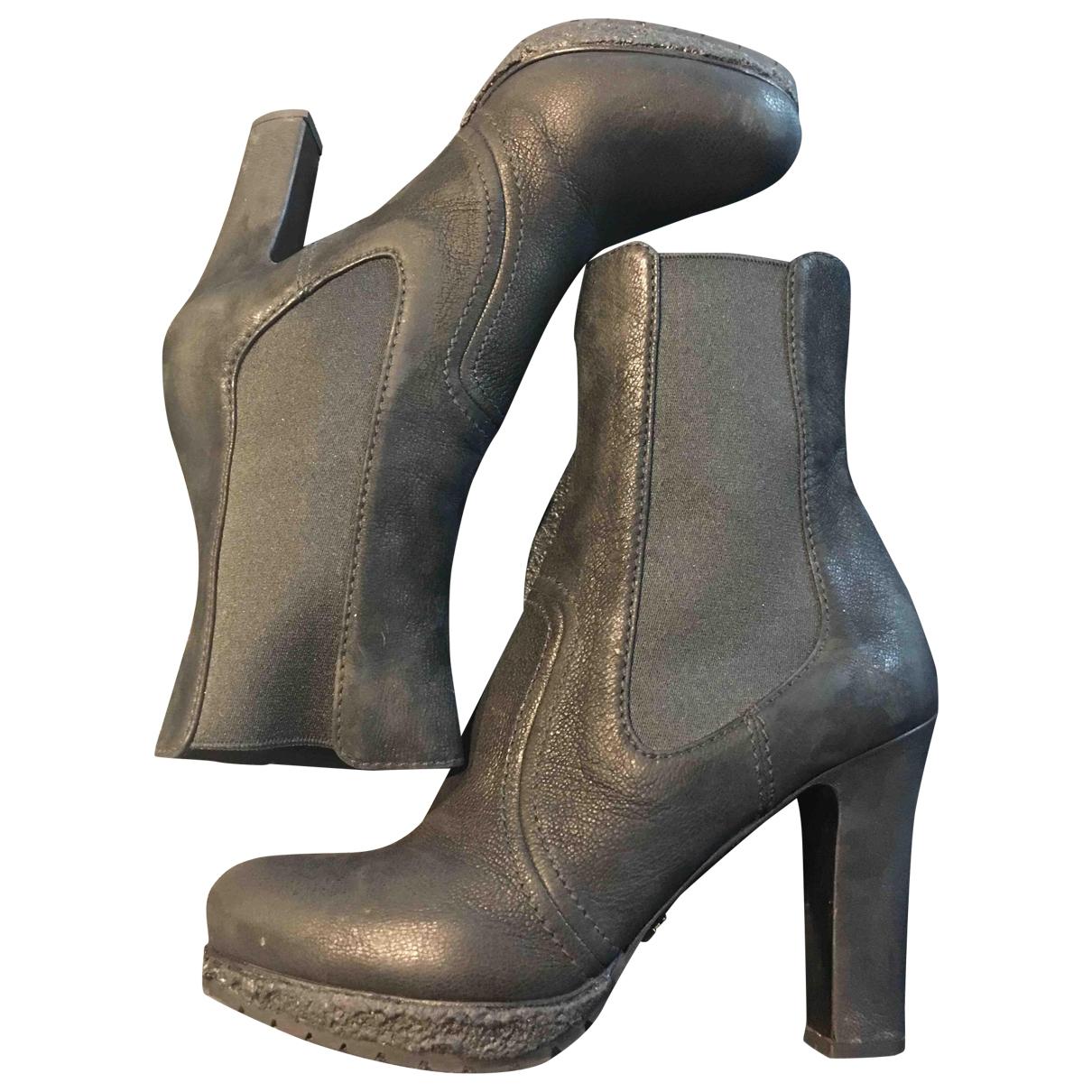 Prada - Boots   pour femme en cuir - anthracite