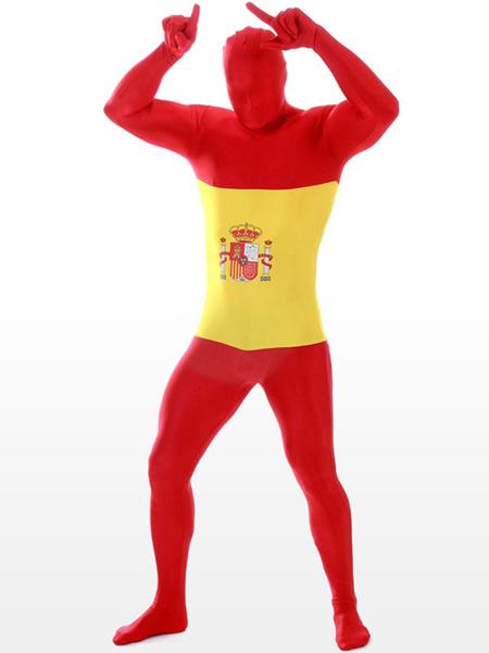 Milanoo Disfraz Halloween Zentai de elastano de marca LYCRA con estampado de bandera nacional de España Halloween