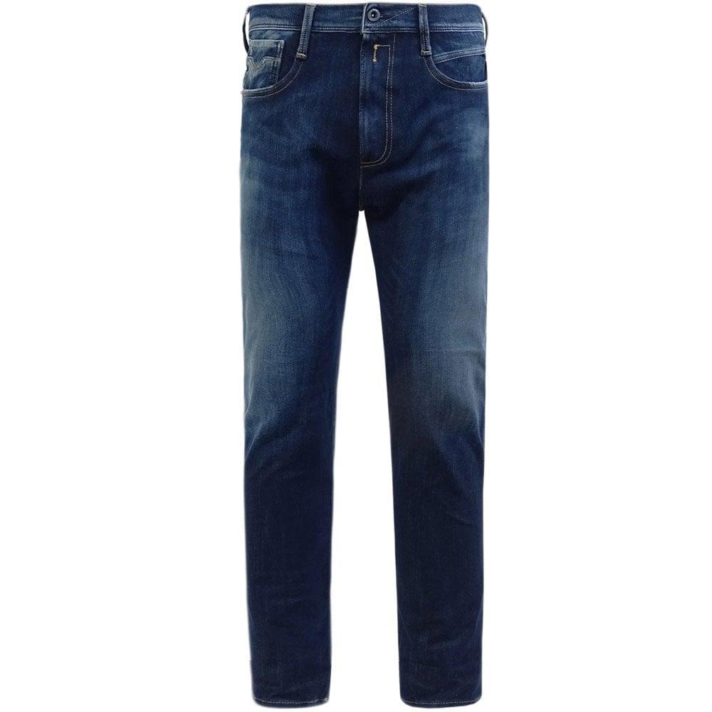 Replay Hyperflex Plus Slim Fit Jeans Colour: BLUE, Size: 36 30