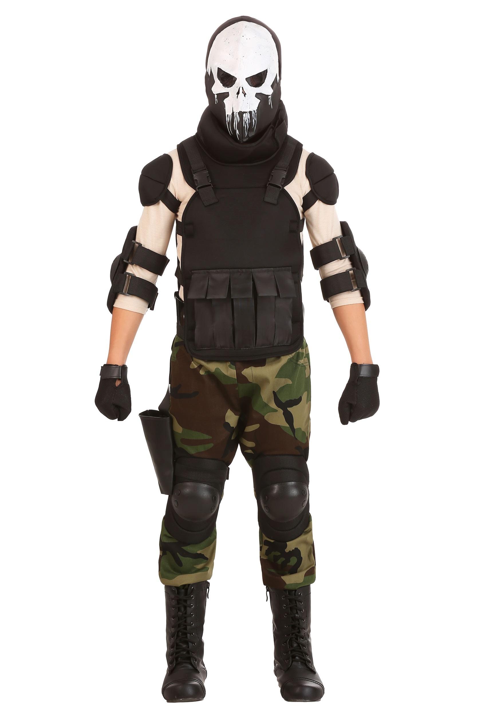 Skull Military Man Costume for Boys