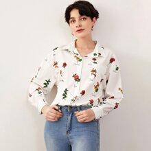 Drop Shoulder Floral Print Blouse
