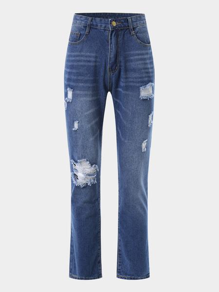 Yoins Blue Random Ripped details Jeans