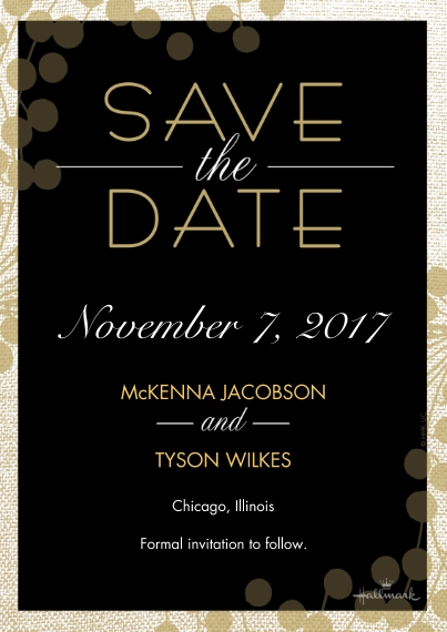 Save the Date 5x7 Cards, Premium Cardstock 120lb with Rounded Corners, Card & Stationery -Modern Black and Gold Save the Date