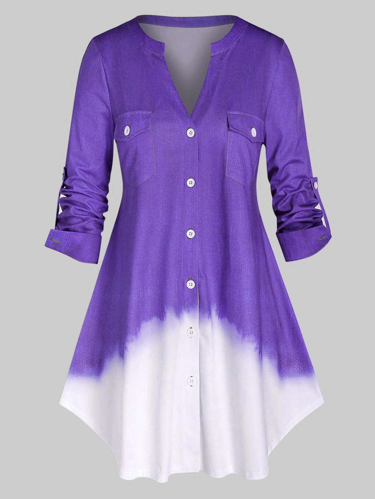 Plus Size Ombre Color Roll Up Sleeve Shirt