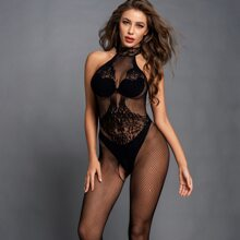 Fishnet Sheer Halter Crotchless Bodystocking