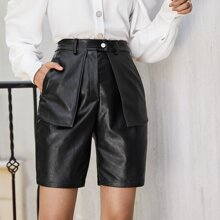 Buttoned PU Leather Shorts