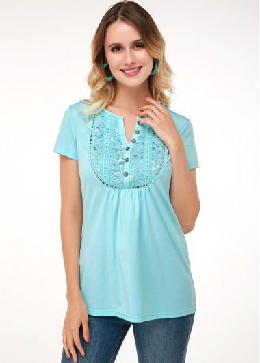 Mint Green Short Sleeve Lace Panel Soft T Shirt - 10