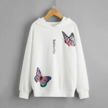 Hoodie mit sehr tief angesetzter Schulterpartie, Buchstaben und Schmetterling Muster
