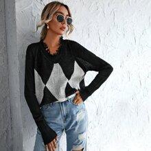 Raw Hem Geo Print Sweater