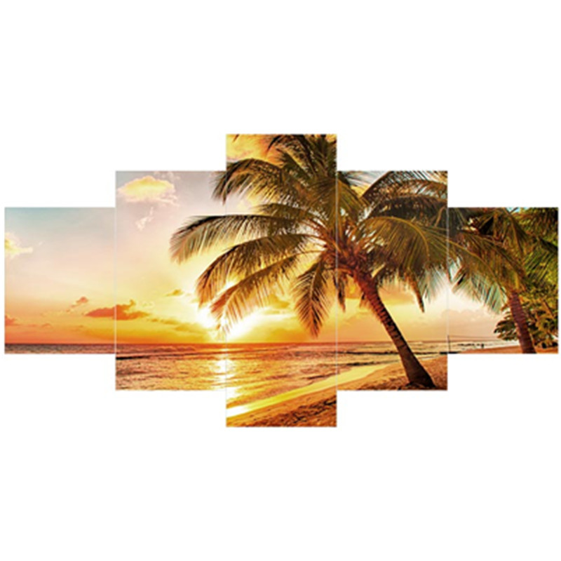 Yellow Sunrise and Palm on Beach Hanging 5-Piece Canvas Waterproof Non-framed Prints