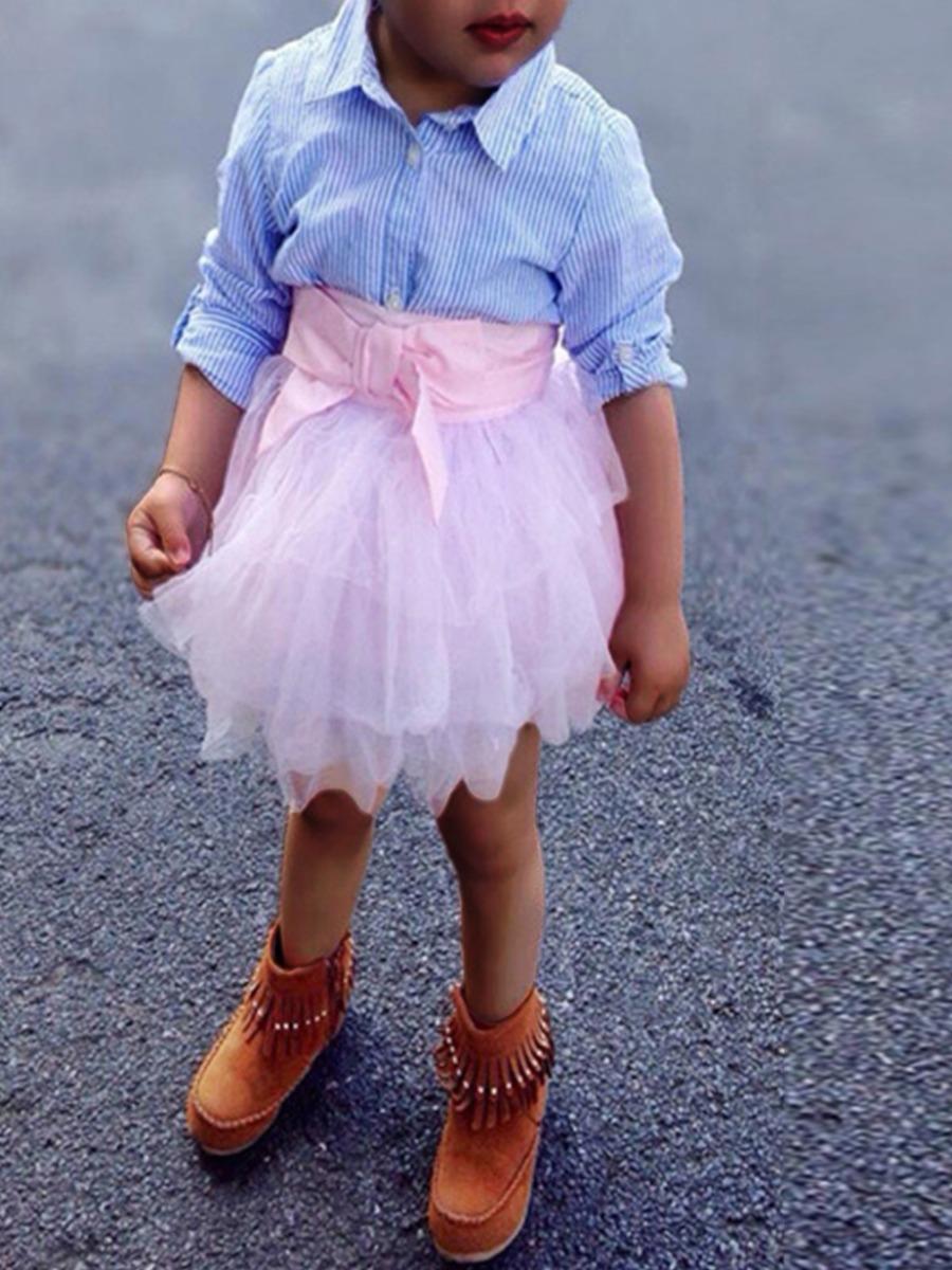LW lovely Casual Shirt Collar Striped Pink Girl Knee Length Dress
