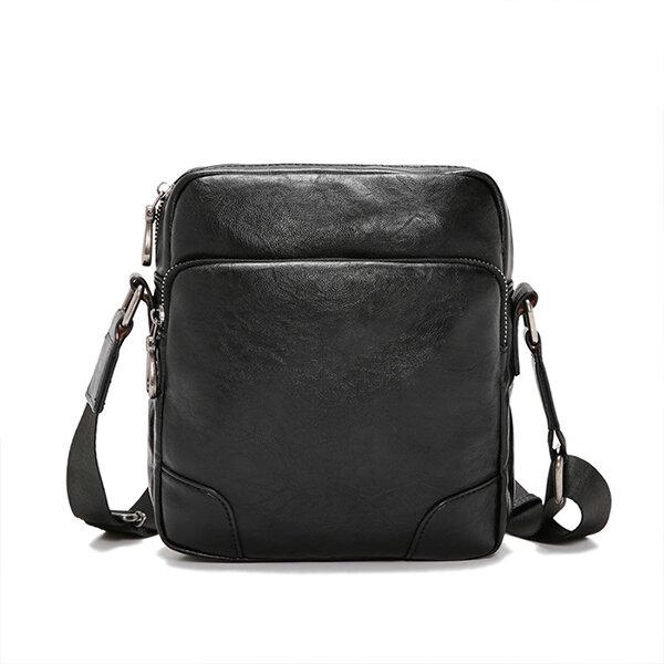 Men Faux Leather Business Plain Shoulder Bag Crossbody Bag