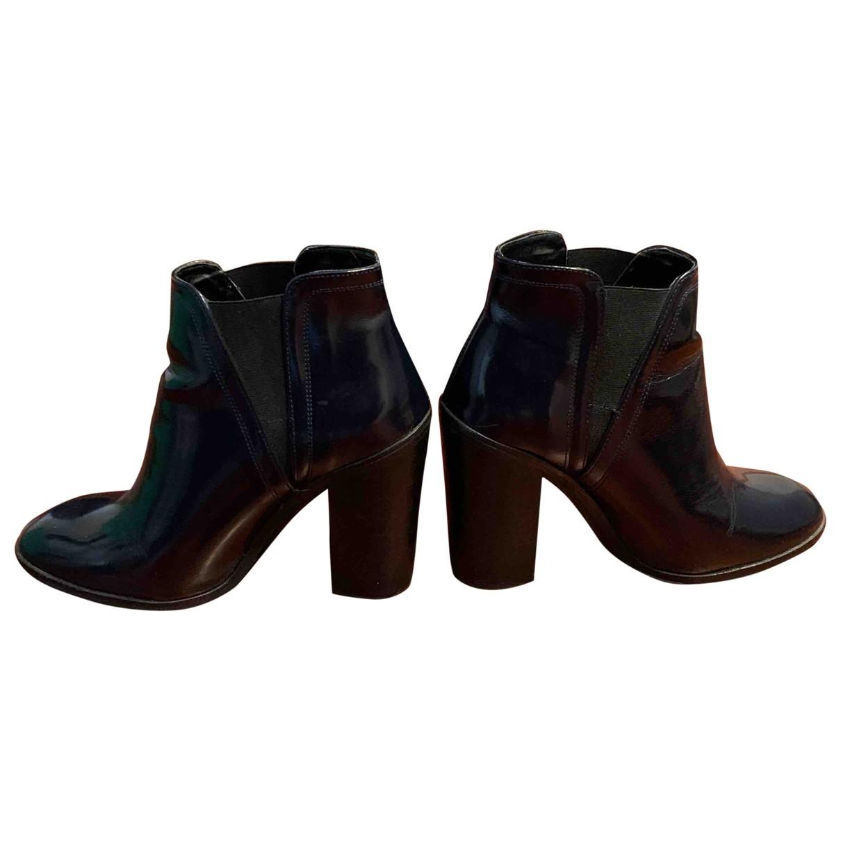 Zara - Boots   pour femme en cuir verni - bleu