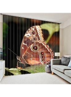 3D Lively Brown Butterfly on the Leaves Printed Beautiful and Vivid Scenery Blackout Room Curtain