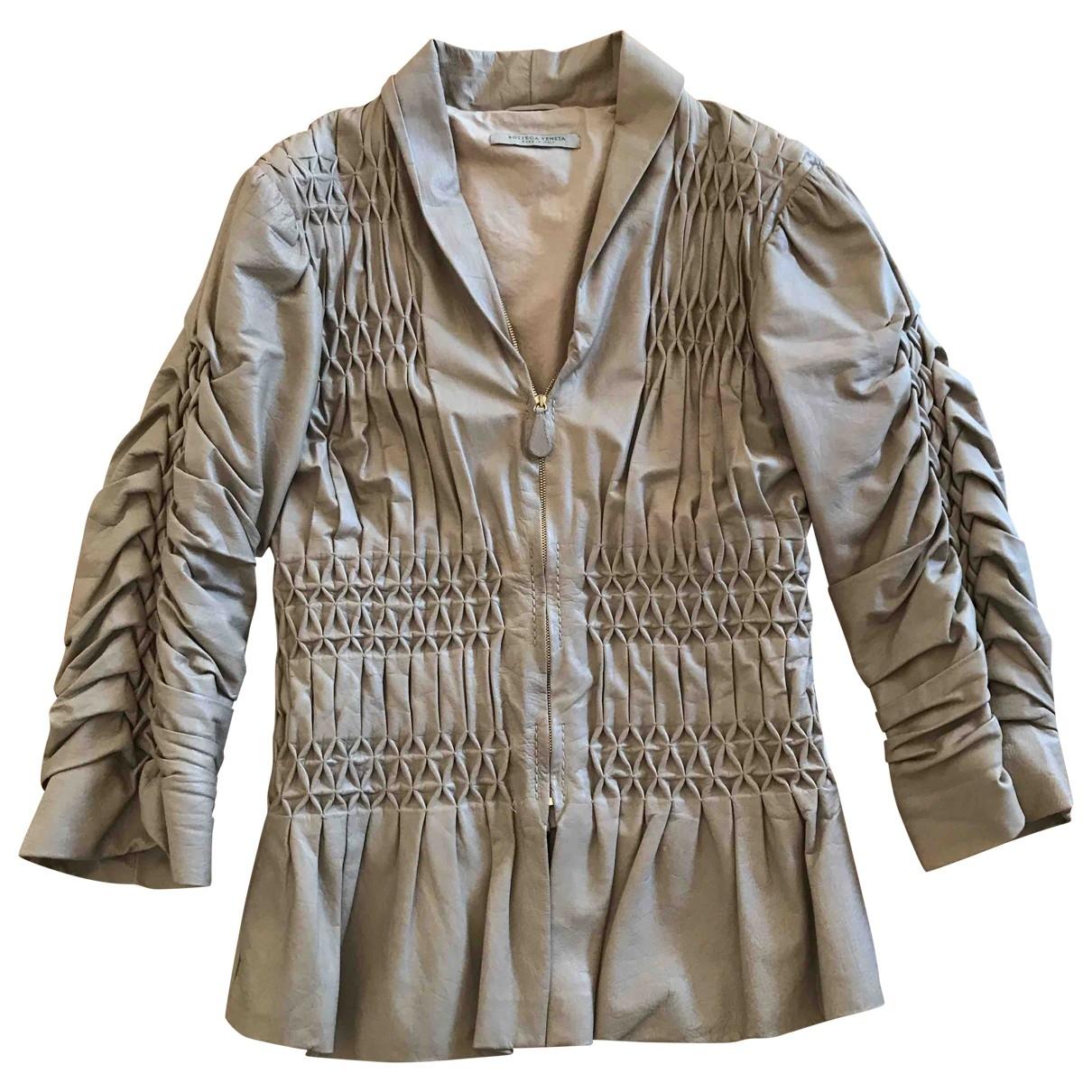 Bottega Veneta \N Khaki Leather jacket for Women 40 IT