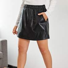 Plus Pocket Patched PU Skirt