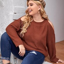 Plus Cold Shoulder Rib-Knit Sweater