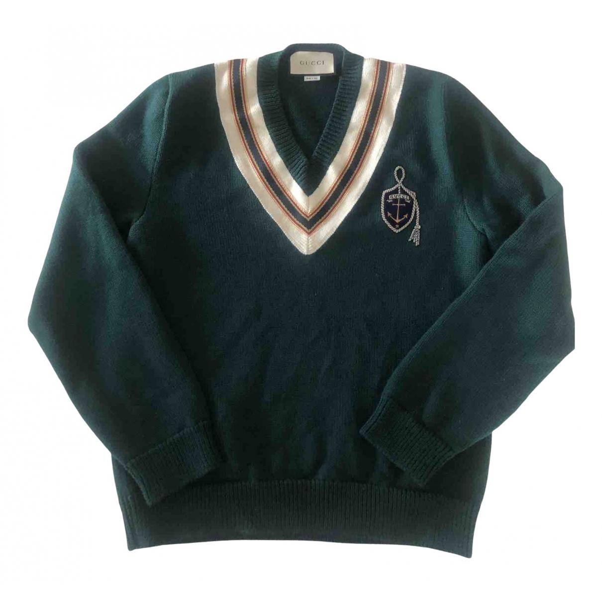 Gucci \N Pullover.Westen.Sweatshirts  in  Gruen Wolle