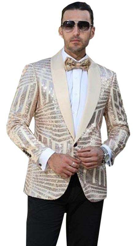 Men's Single Breasted Striped Pattern Shawl Lapel Tan Dinner Jacket