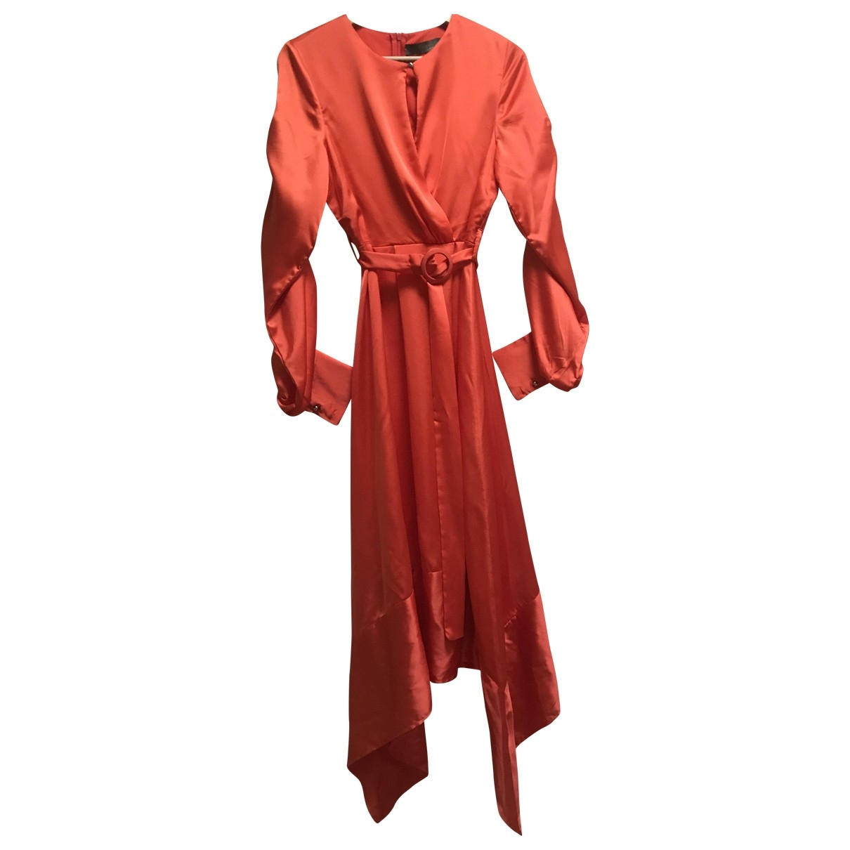 - Robe Manche ballon pour femme en soie - orange