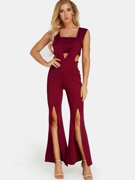 Yoins Red Slit Design Strapless Long Jumpsuit