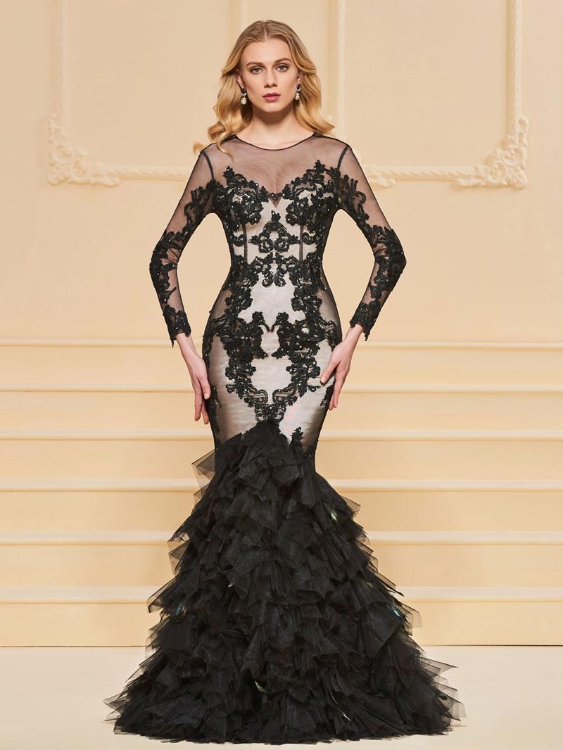 Ericdress Applique Long Sleeve Ruffles Mermaid Evening Dress