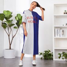 Kleid mit Buchstaben Grafik, Streifen am Saum, O-Ring und halber Reissverschlussleiste
