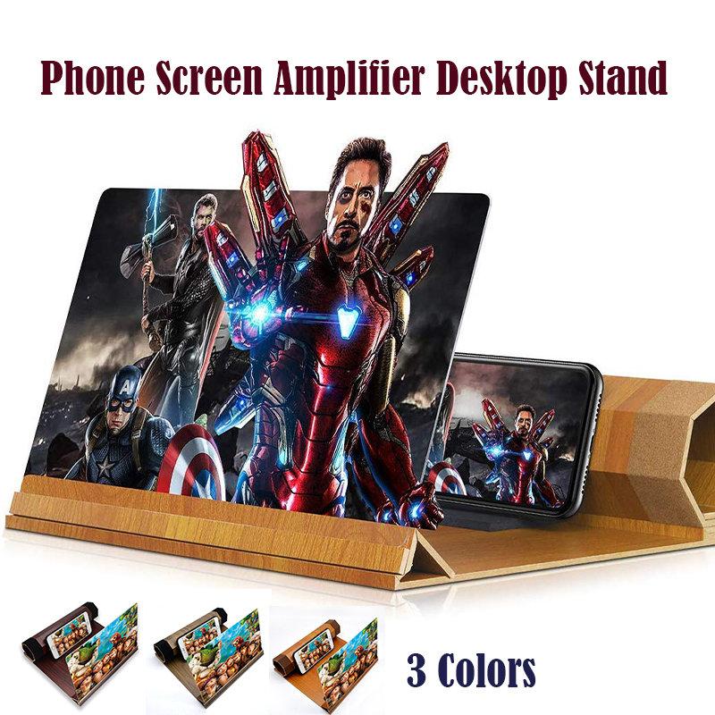 Phone Screen Amplifier Wood Grain Volume Magnifier 3D Amplifier Desktop Stand