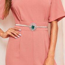 Cinturon delgado con hebilla redonda con diseño de diamantes de imitacion