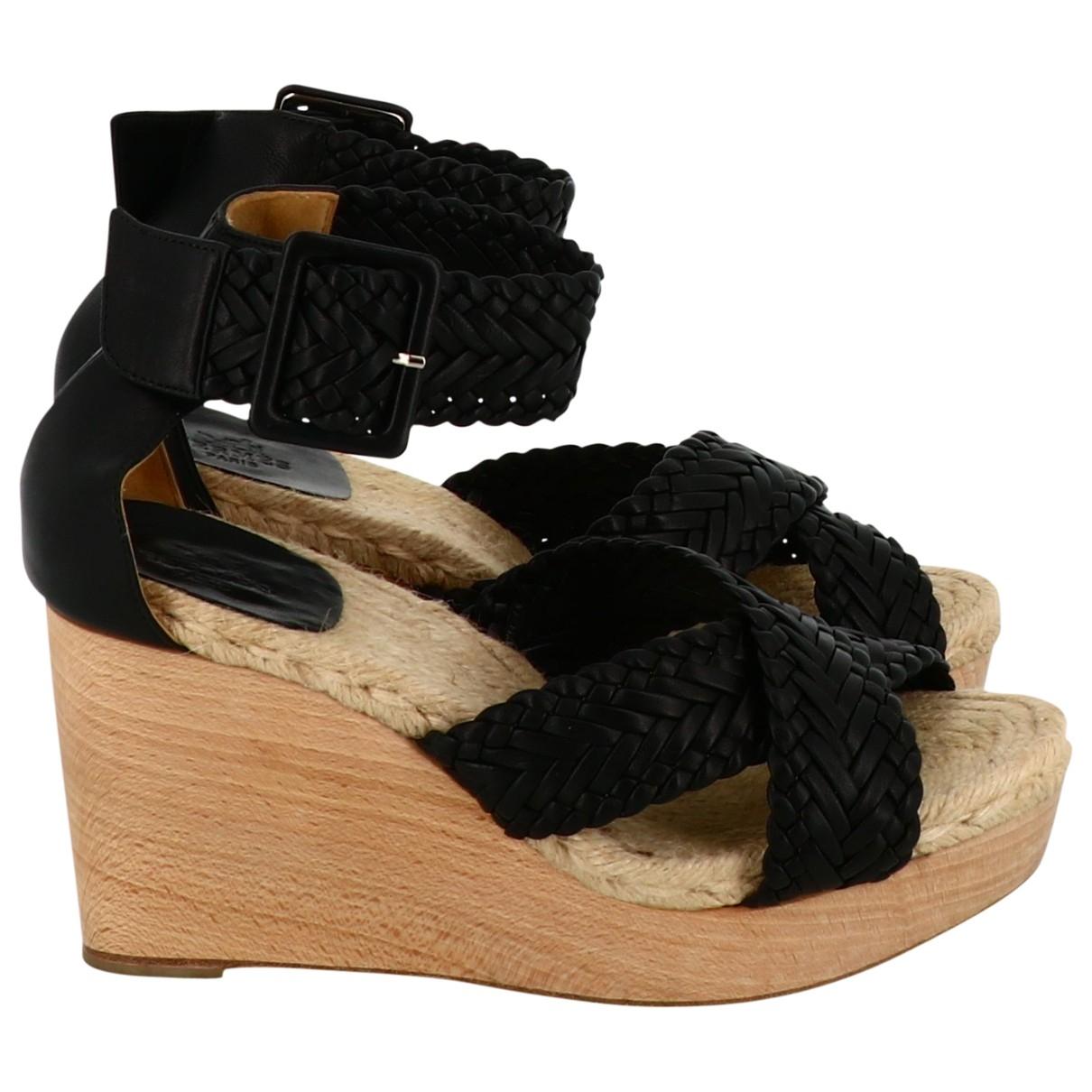 Hermes - Sandales   pour femme en cuir - noir