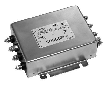 TE Connectivity , Corcom AYA 25A 250 (PH → G) V ac, 440 (PH → PH) V ac 50 Hz, 60 Hz, Flange Mount RFI