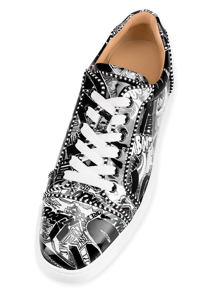 Milanoo Black Skate Shoes Men Round Toe Printed Lace Up Sneakers