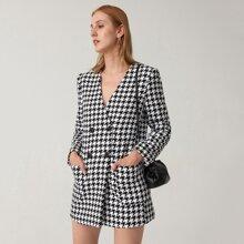 Tweed Blazer Kleid mit V Kragen, Taschen Flicken und Hahnentritt Muster