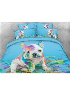 Paint and Naughty French Bulldog 4-Piece 3D Animal Bedding Set/ Duvet Cover Set
