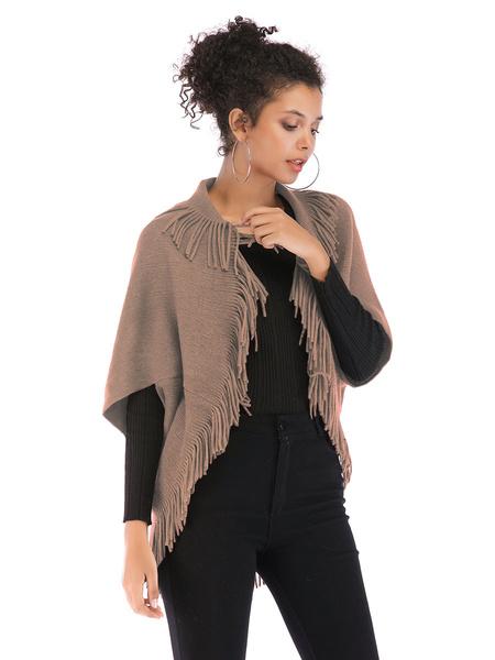 Milanoo Women Poncho Turndown Collar Polyester Black Tassel Sweater Cape