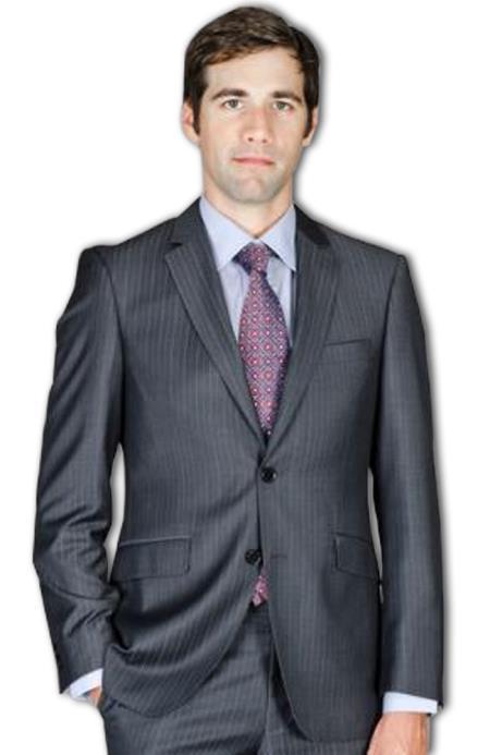 Mens Slim Fit Black Stripe Wool and Silk Blend Suit