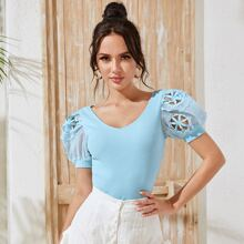 Eyelet Embroidered Puff Sleeve Rib-knit Top
